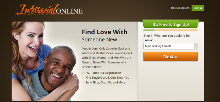Interracial Online printscreen homepage